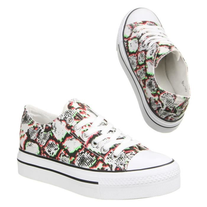 Femme chaussures loisirs chaussures coloré Sneakers rouge Multi 41 OoXSUTcxo