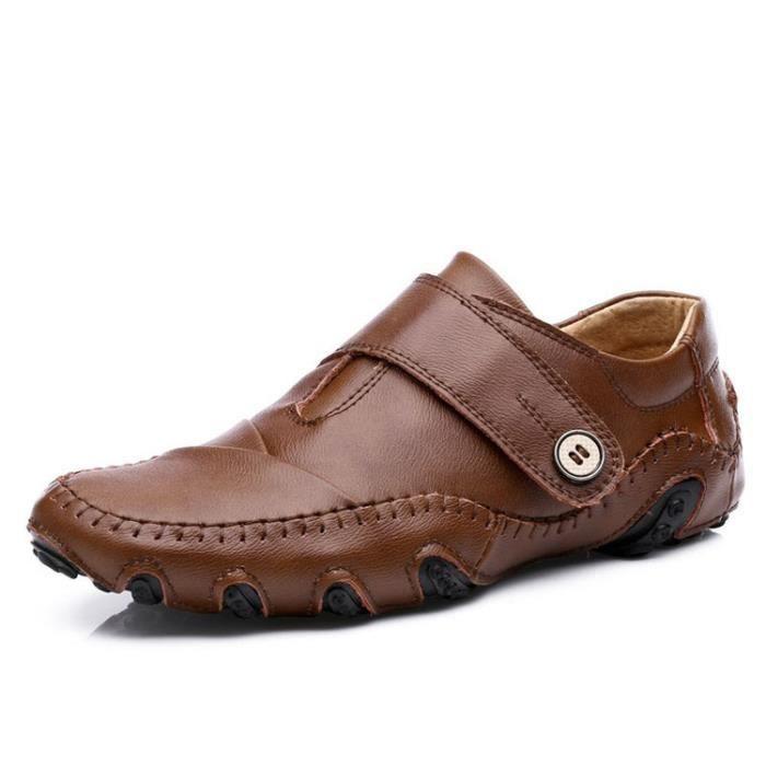 Nouveaux appartements Marque Hommes Casual hommes en cuir véritable Mocassins Mocassim Masculino Homme Sapatos Homme