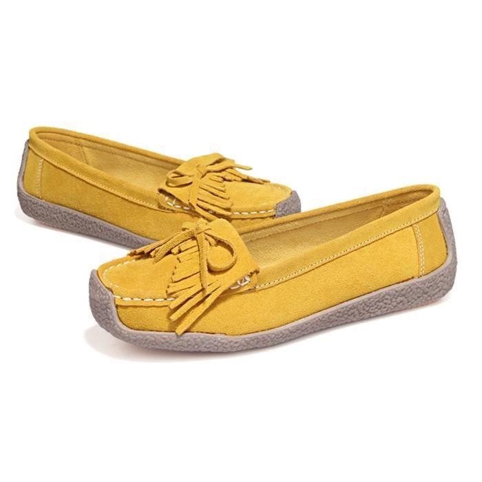 Femme Moccasin Qualité SupéRieure Confortable Les Chaussures De Loisirs AntidéRapant léger version Plus De Couleur 35-40,jaune,35