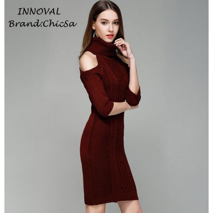 f6af0183234 Européen Bretelles Sexy Pull Robe Femme Couleur Unie 1 2 Manche Col Haut  Tricot Robe de Bureau Courte Printemps Pullover Robe Rouge Rouge - Achat    Vente ...