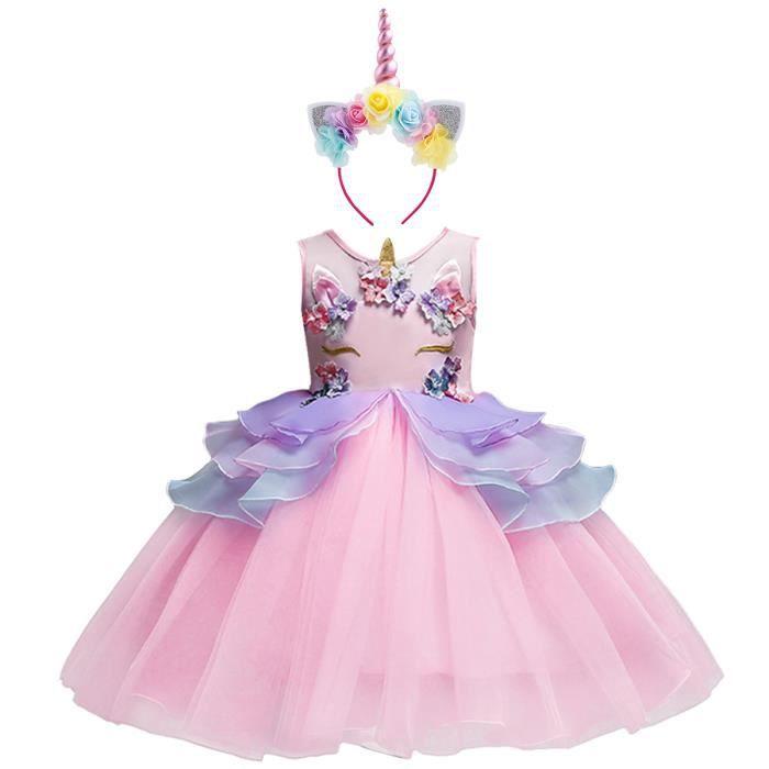 6297b3489a8cf5 IWEMEK Filles Robe de Princesse Sans Manches Tulle Licorne Robe de  Anniversaire Soirée Mariage Costume de Carnaval + Bandeau (Rose)