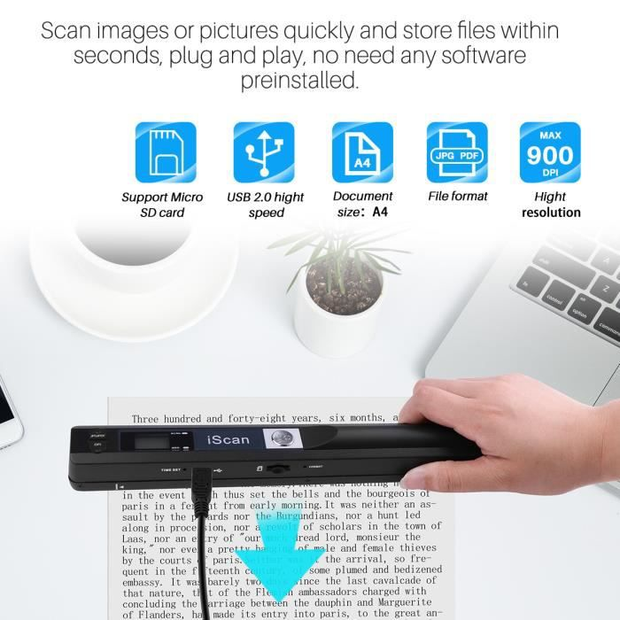 SCANNER Portable 900DPI Document mobile iScan Scanner d'im