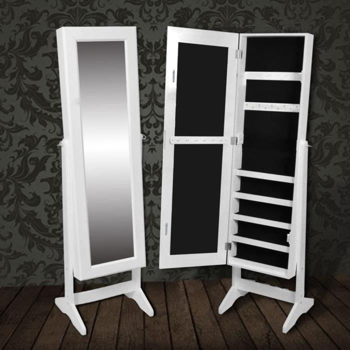 Armoire à Bijoux rangement miroir meuble chambre Miroir Armoire à bijoux  Murale Meuble à bijoux blanc