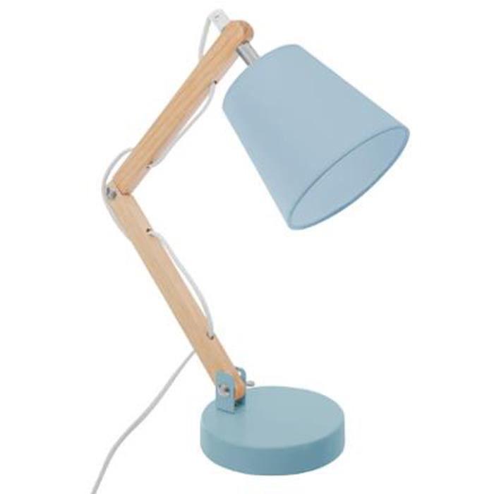 Lampe De Bureau Enfant En Bois Coloris Bleu Dim L 32 X L 12 5 X