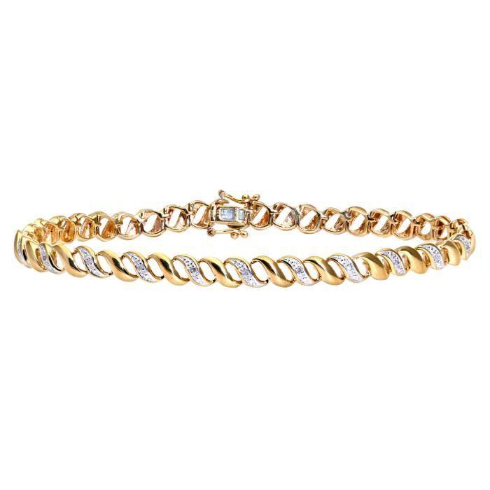 Revoni - Bracelet en or jaune 9 carats et diamants, motif onde- REVCDPBC02692Y