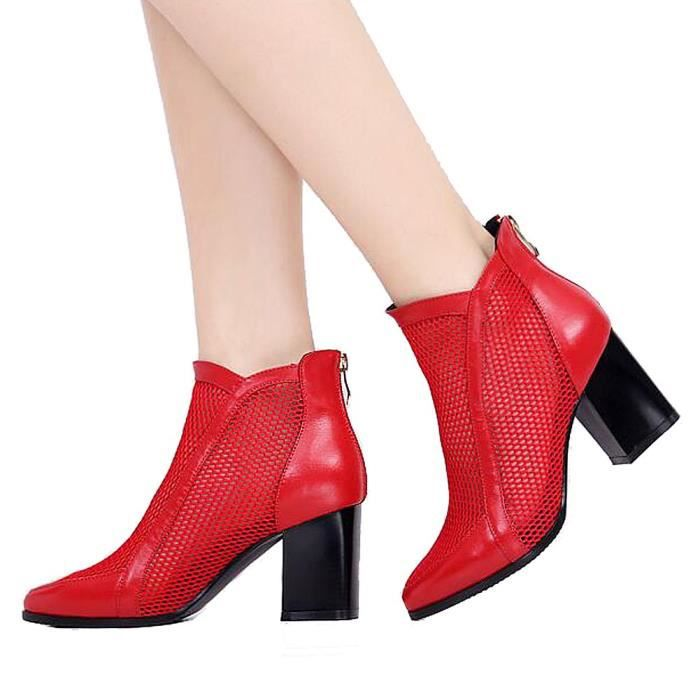 Block Lace Mesh Surface Sexy Mid Heels Zipped Ankle Boots YETF5 Taille-37