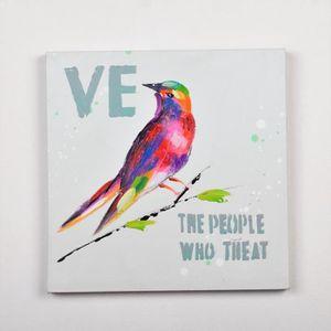 TABLEAU - TOILE Tableau déco Oiseau  4 -  Toile peinte à la main