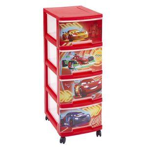 CURVER CARS NEON Tour de rangement 4 tiroirs A4 10 L avec roulettes rouge