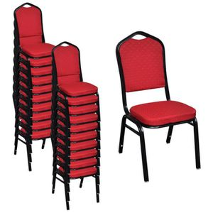 CHAISE 20 Pcs Chaise Empilable Rembourree Rouge