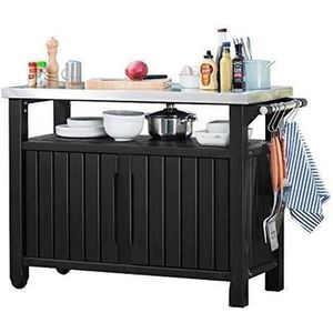 CHARIOT - SUPPORT KETER Grand buffet barbecue 0,66m² en résine - Gri