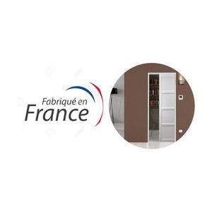 PORTE COULISSANTE PORTE SEULE 4 PANNEAUX ENROBE BLANC 73 CM + SYSTEM