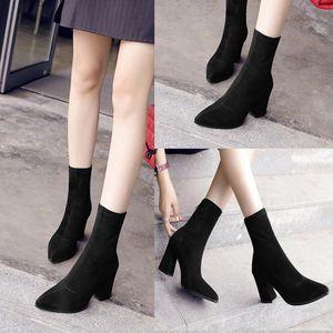 Frankmall®Mode tricotant Bottes orteil élastique extensible talon épais au-dessus du genou pour femmes Noir NYZ70829904BK TJ8KGQIa