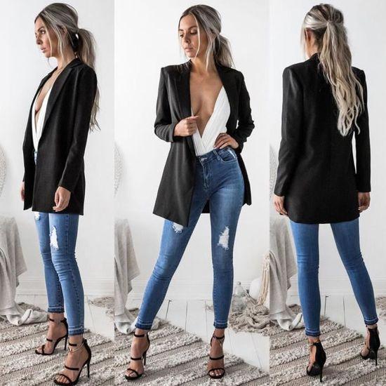 Casual Cardigan Manteau Costume Manches Femmes Longues Pour Outwear Blazer Les Veste noir 7Tx0Snx