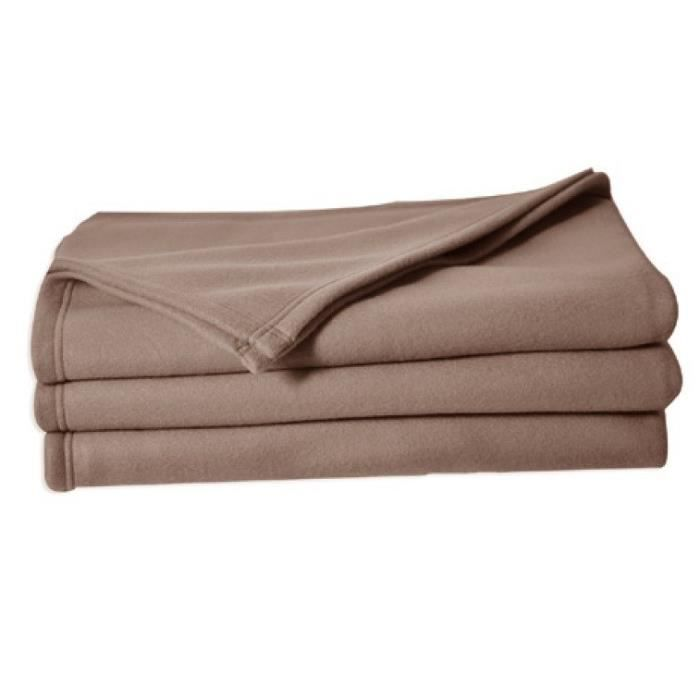 Couverture polaire Polfirst - 100% polyester 250g/m² - Taupe - 150 x 220 cmCOUVERTURE - EDREDON - PLAID