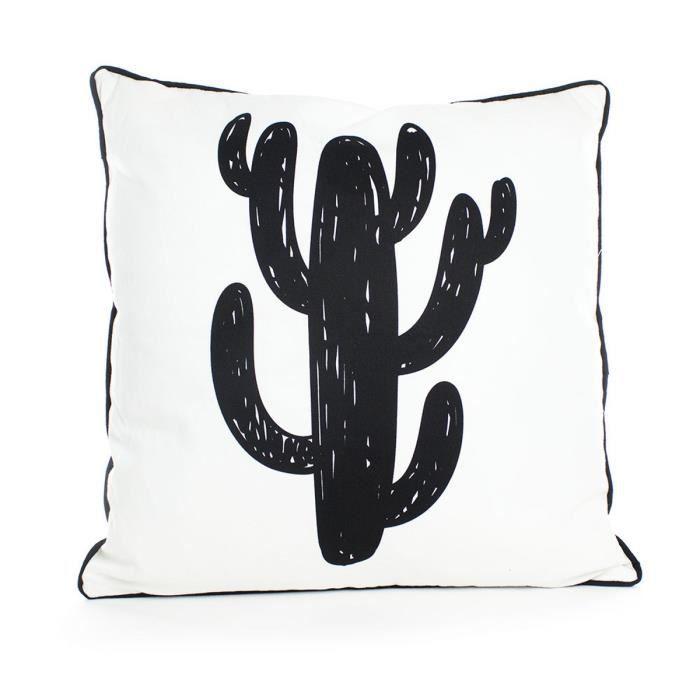ANDORA Coussin déhoussable LUIS 45x45 cm noir et blanc