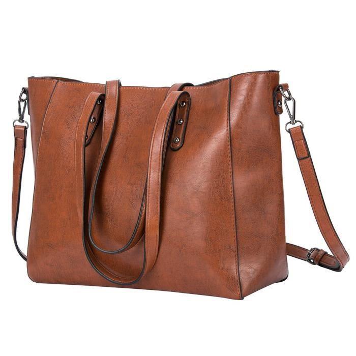 Sac fourre-tout en cuir sacs à main, fermeture éclair dames sac d'affaires Messager épaule Hobo Top poignée sacoche de travail femmes (marron)