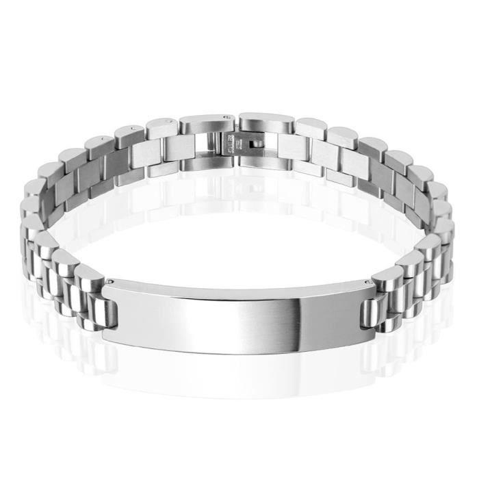 argent bracelet unisexe Coolbodyart® de Tapsi acier inoxydable longueur de plaque pleine largeur 10mm 217mm