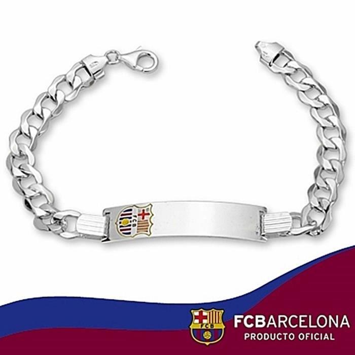 chaînette F.C. Barcelona Argent massif barbada émail 21cm.