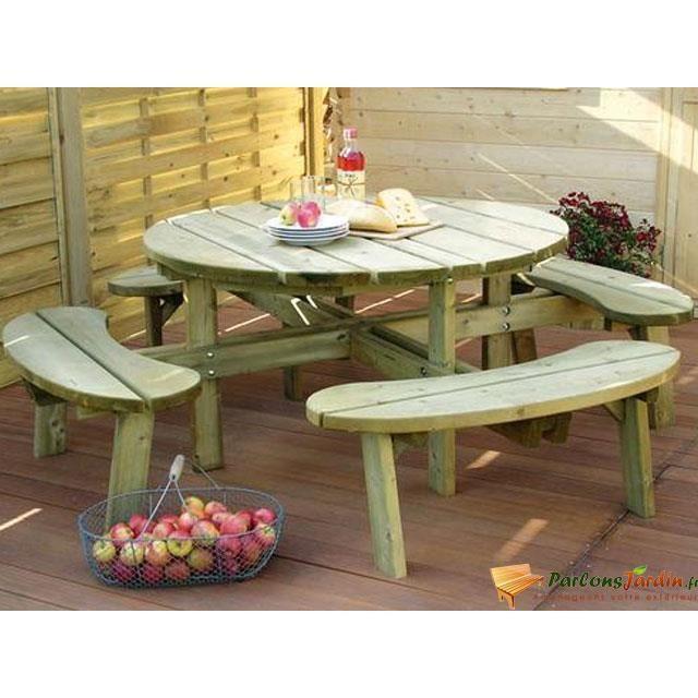 Table de pique-nique en bois ronde Pêche - Achat / Vente salon de ...