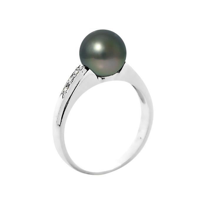 PERLINEA Bague Argent 925° Perle de Tahiti et Diamants Femme