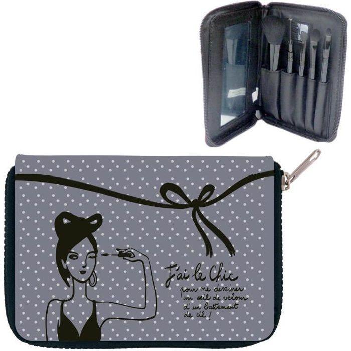 trousse de rangement maquillage garnie j 39 ai le chic kit accessoire pinceaux id e cadeau. Black Bedroom Furniture Sets. Home Design Ideas