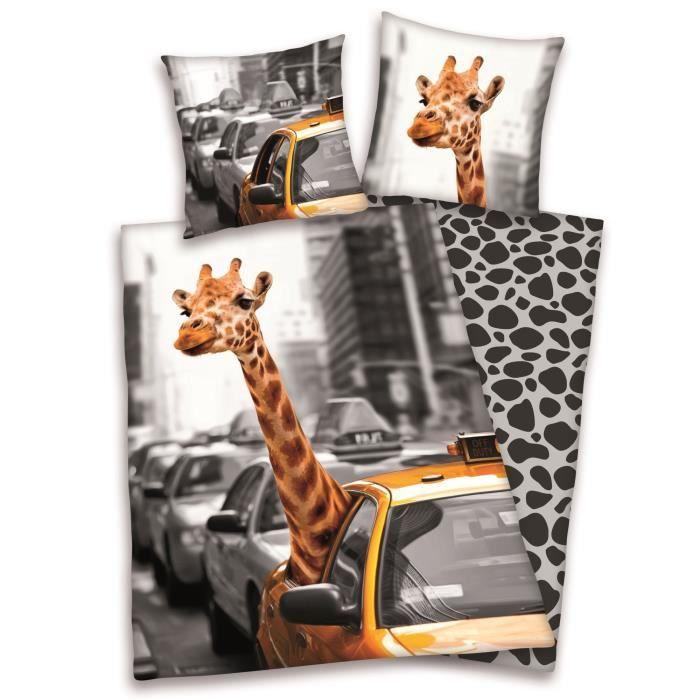 parure de couette enfant new york girafe 100 coton 1 housse de couette 140x200cm 1 taie d. Black Bedroom Furniture Sets. Home Design Ideas