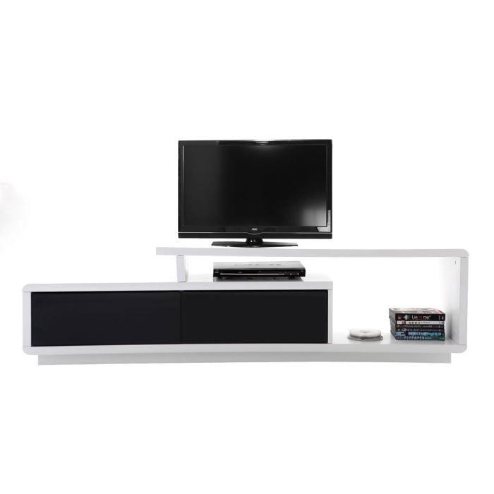 miliboo meuble tv design laqu noir et blanc achat vente meuble tv miliboo meuble tv On meuble tv miliboo