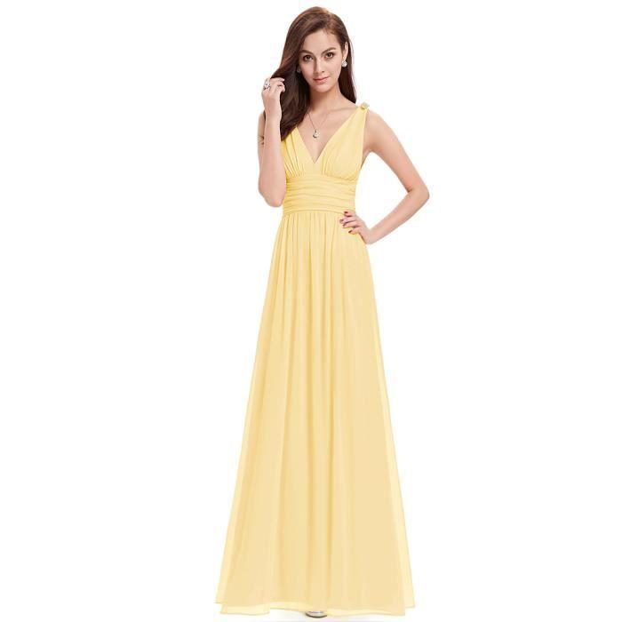 Robe de soirée lumière jaune longue sexy corail drapée sans manches V-cou sans bretelles