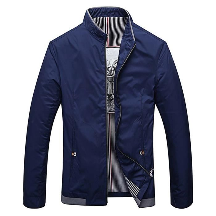 blouson l ger homme printemps casual veste col montant mode v tement zip e bleu marine achat. Black Bedroom Furniture Sets. Home Design Ideas