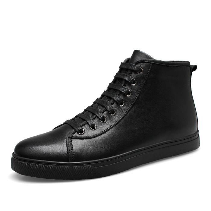 802-Noir-48 Chaussures Bottes 2017 Mode Hommes Bottes hiver de grande tailledécontractéesde travail Cuir véritable Chaud