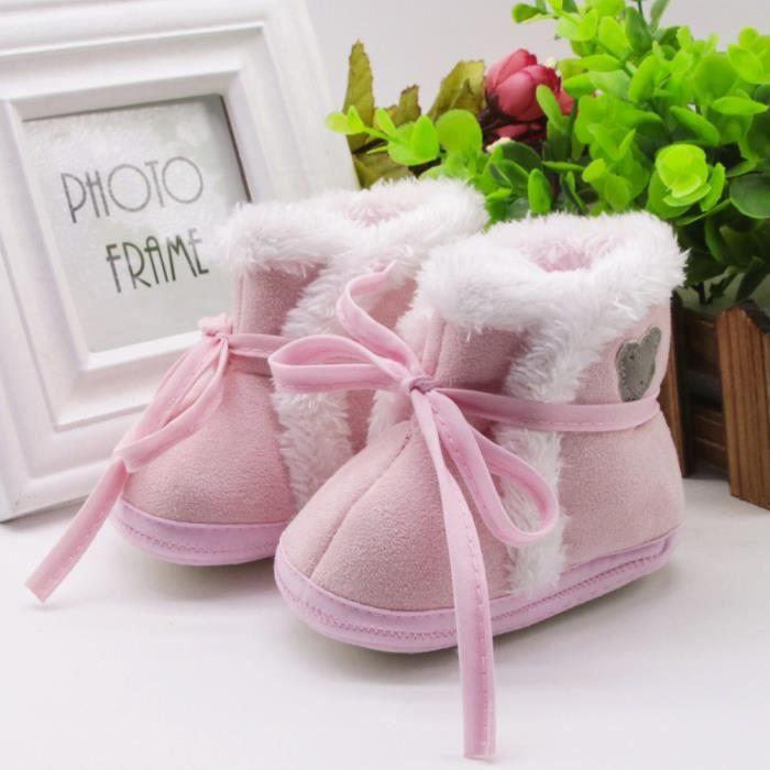 Enfant nouveau-né bébé ours imprimer bottes semelle douce prémarcher chaussures chaudes rose TAzGn