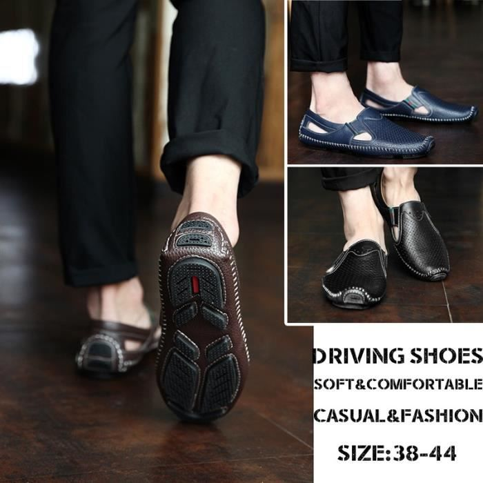 Chaussures d'été en cuir Casual Sandales Chaussures Respirant hommes creux Lazy Driving Chaussures t1rkFBK