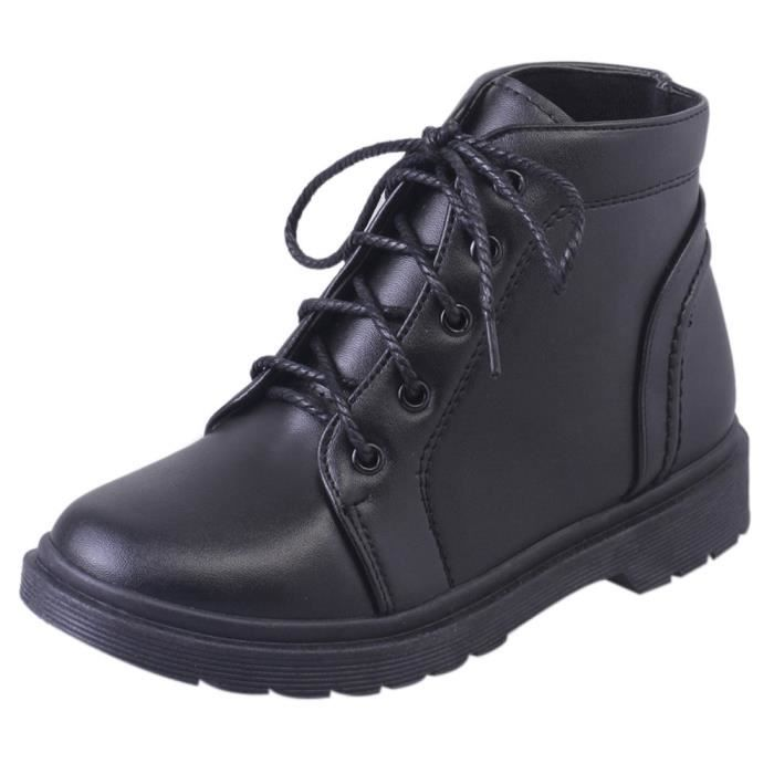 y Shoes Femmes's Short Heel Student Boots Martin 3720 Fashion Noir Thick xYgzw4