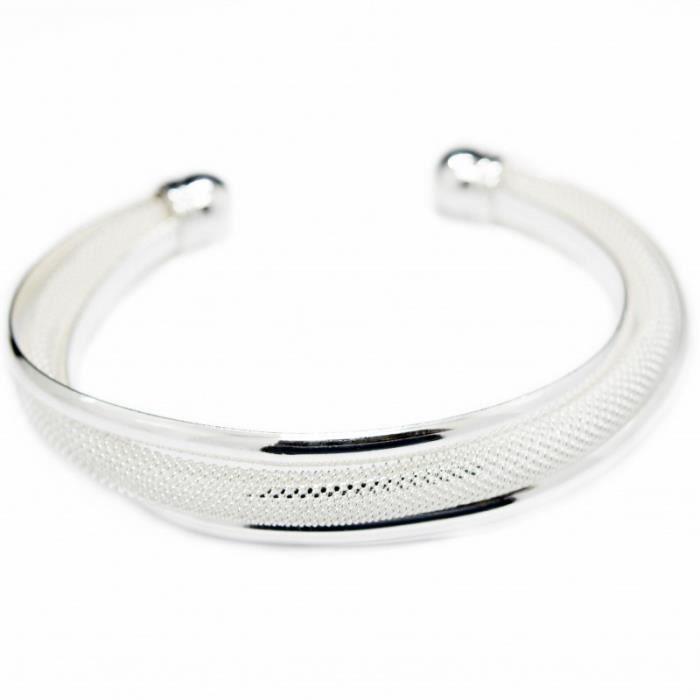 Bracelet jonc trois bandes argent femme