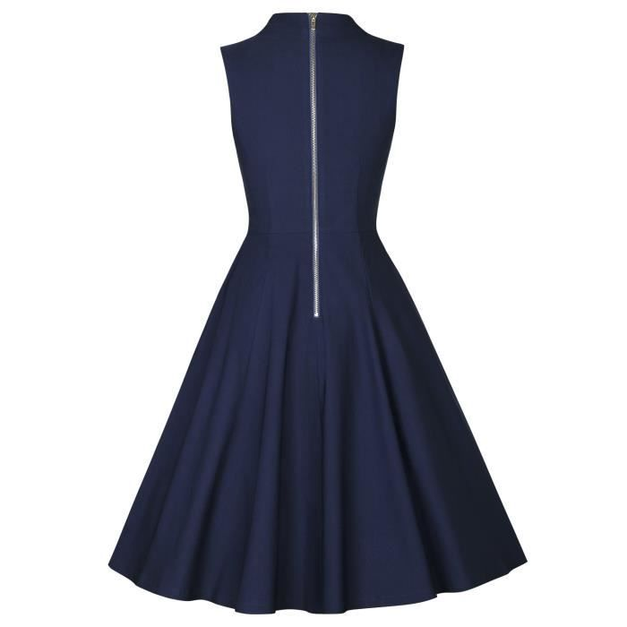 Womens 1950s V-neck Pleated Dress 2RF1DO Taille-34