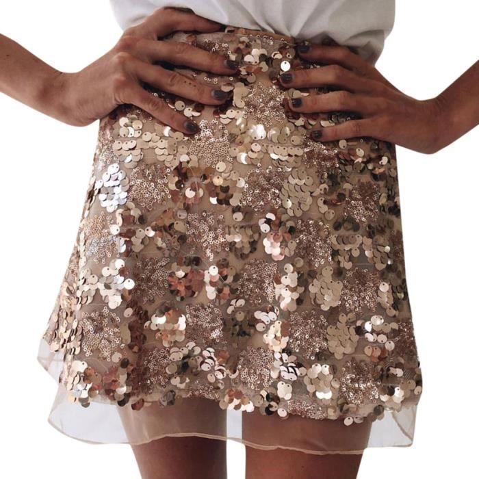 Moulantes Femmes Party Avslappnad Paillettes Haute Soirée Courte xl Mini Jupe Taille q4nxWnrO