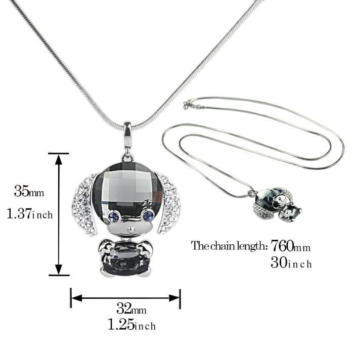 Womens Artifical Crystal Cute Dog Pendant Necklace With Sweater Long Chain Fashion Jewelry ForA4R8L