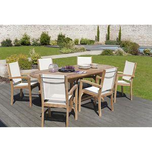 Table en teck et 6 chaises - Achat / Vente pas cher