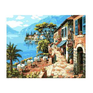 TABLEAU - TOILE TEMPSA Tableau Peinture Huile Paintings Coast Cafe