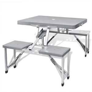 TABLE ET CHAISES CAMPING Jeu de table de camping pliable avec 4 tabourets A