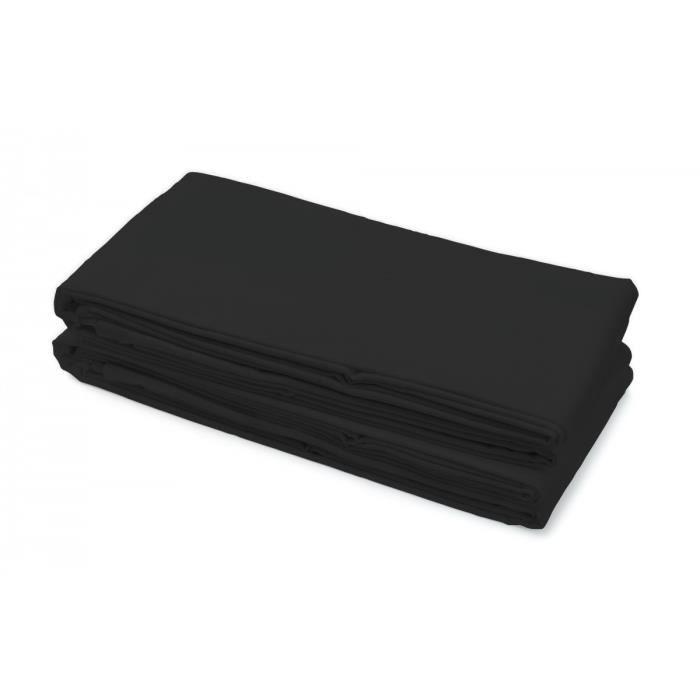 Drap plat 100% Coton 240x300 cm noir
