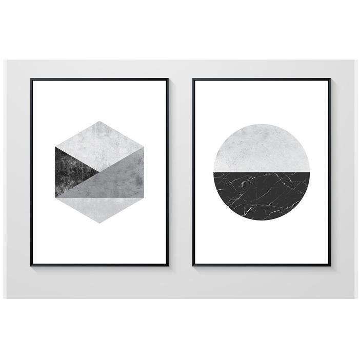 tableau noir et blanc geometriques achat vente tableau noir et blanc geometriques pas cher. Black Bedroom Furniture Sets. Home Design Ideas