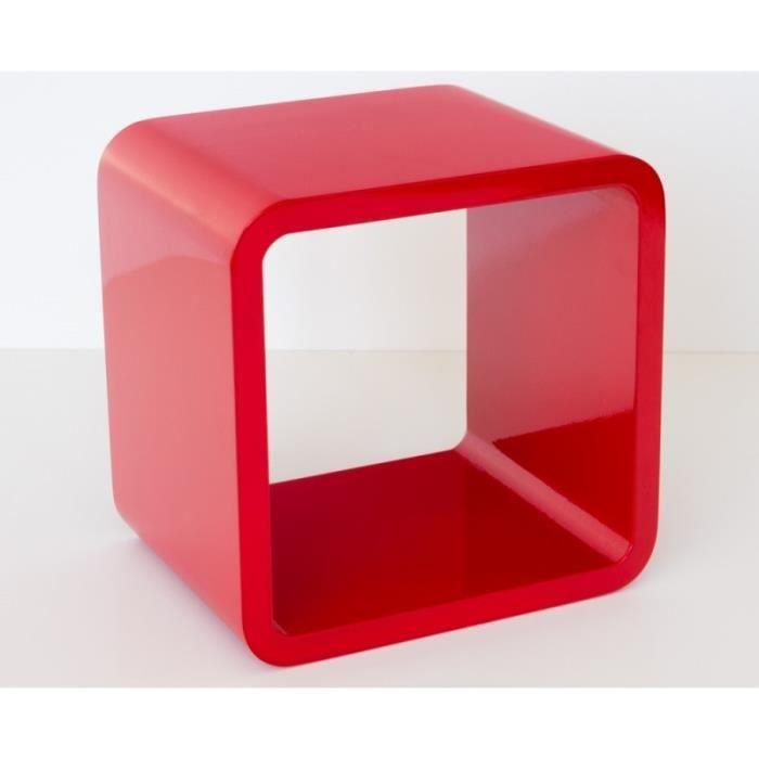 Etagere Murale Cube Avec Kit De Montage Inclus Rouge Laque 22x22x17 Cm ETA06042