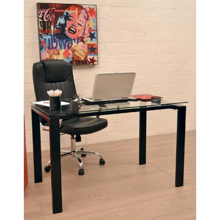 archi bureau 120 cm en verre et m tal noir achat vente. Black Bedroom Furniture Sets. Home Design Ideas