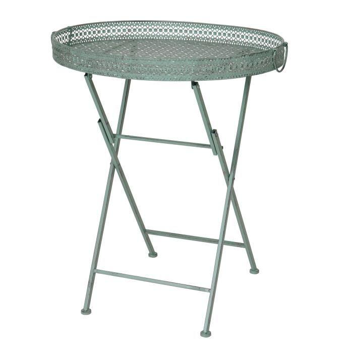Table jardin metal pliante couleur verte - Achat / Vente pas cher