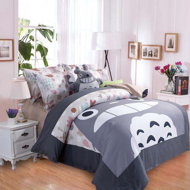 parure de lit totoro 200 230 cm 4 pieces achat vente housse de couette cdiscount. Black Bedroom Furniture Sets. Home Design Ideas