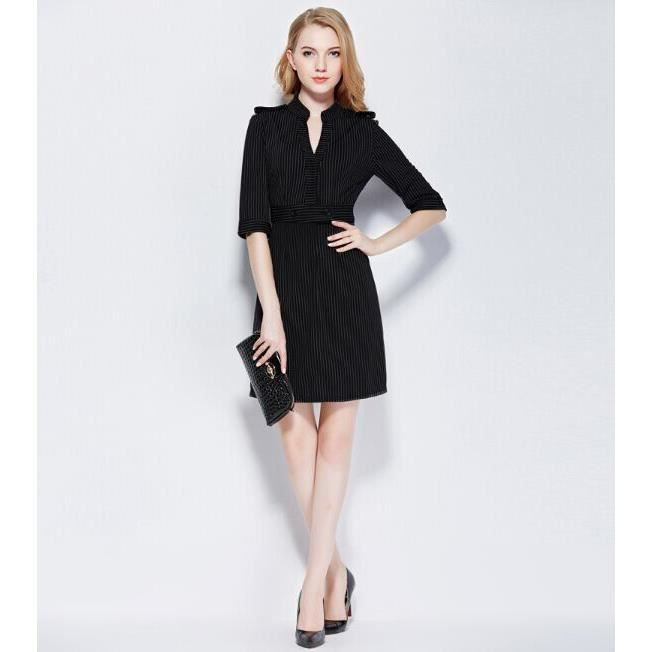 034a5762f20 Robe à rayures NOIR TAILLE S BLACK - Achat   Vente robe - Cdiscount