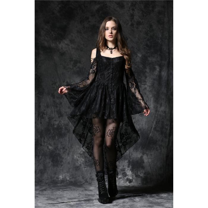 b0c6ec2d922 Robe noire épaules nues et manches en dentelle élégante gothique romantique