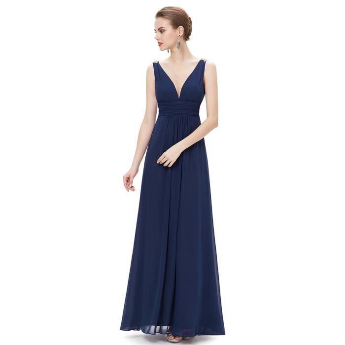 ede4667a606 Robe de soirée lumière bleu marine longue sexy corail drapée sans manches V- cou sans bretelles