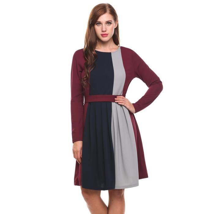 Robe de femme manches longues Contraste couleur genou longueur